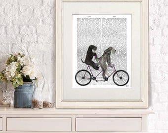 Schnauzer wall art - Schnauzer on tandem - Tandem bike Cycling gift Bicycle art Schnauzer love Schnauzer art Schnauzer gift Schnauzer decor