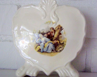 Wedding Decor Romantic Heart Shaped Bud Vase with Love scenes front and back, 1950's, wedding gift