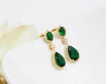 Gold Emerald Wedding Earrings   Bridesmaid Earrings   Emerald Earrings   Bridal Earrings   Wedding Jewelry   Emerald Jewelry   Weddings
