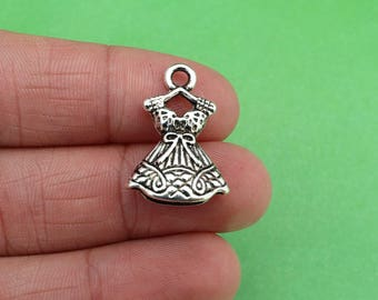 8 Dress Girly Fashion Cinderella Silver Charms