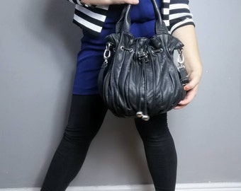 Slouchy black leather handbag / 90s Italian leather large bag / quality soft leather purse / drawstring handbag / boho slouchy purse