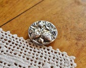 Vintage Pierced Metal Strawberry Button, Silver Strawberry Button, Mirror Back Twinkle Button, Victorian Fruit Button