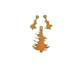Pine Tree Rusty Metal Pendant/Charm And Earrings 3-Piece Set