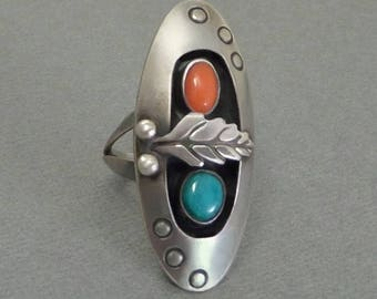OLD PAWN Vintage Native American Indian RING Turquoise Coral Jewelry Sterling Long Navajo Shadowbox Feather, Size 7, Gift for Her