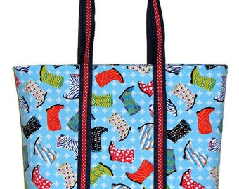 Handmade Quilted Purse, Zippered Tote Bag, Spring Tote Bag, Novelty Rubber Boots, Blue Red Yellow Fabric Purse, Quiltsy Handmade