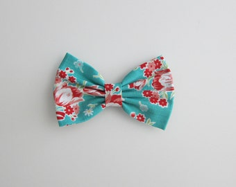 teal hair bow : red flower print