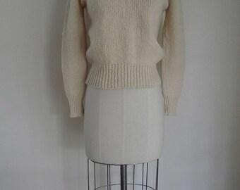 60's Handknit Wool Sweater Ireland Beige Long Sleeve Sweater