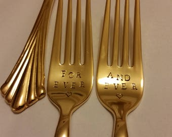 Gold flatware Wedding forks NewVintage 24K Gold Plated Hand Stamped Wonky FOREVER AND EVER Real photos Gatsby gold forks wedding Real photos