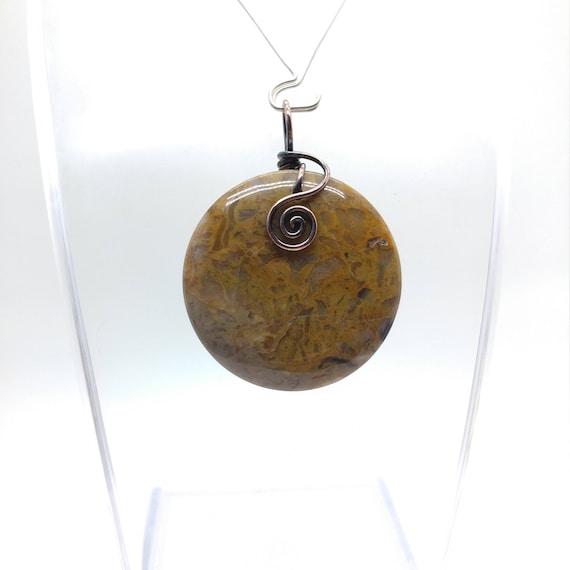 Round Stone Pendant Necklace | Gobi Agate Pendant | Antique Copper Pendant | Semiprecious Gemstone Pendant | Gift for New Boyfriend