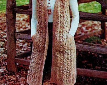 Long Cable Knit Vest Vintage Knitting Pattern Download