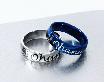 Ohana Ring, Stainless Steel, Ohana Means Family, Ohana Jewelry, Best Friend Ring, Lilo and Stitch, Friendship, Matching Ring, Couple Ring