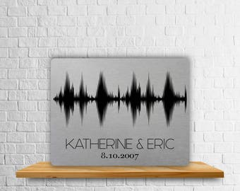 Custom Sound Wave Plaque, Metal Soundwave Art Print, Aluminum Anniversary Art Print, Wedding Print, Couple Gift, 10th Anniversary Gift, Ten