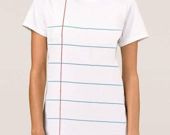 Notebook Paper Graphic© Unisex T-shirt. Also available in ladies Chiffon Shirt or Tank. Back to school fun! Unique teacher and author gifts.