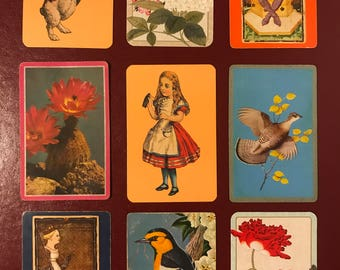 Vintage playing cards set of 9