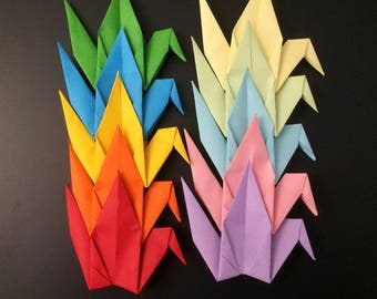 Origami Birds 15cm X 50 Rainbow Mix - Origami Birds - Folded Paper Birds - Wedding Decoration - Baby Shower Paper Decorations Origami Paper