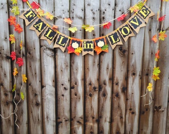 Rustic chalkboard, Fall in love banner, Fall wedding, Autumn wedding, Bridal shower, Pumpkin baby shower decoration