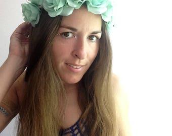 Mermaid Queen flower crown, luscious aqua green rose crown on adjustable band, Coachella festival floral crown