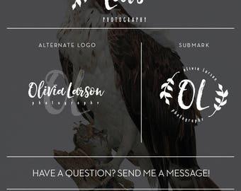 Photography Logo Branding Kit, Logo Set, Logo Kit, Branding Package, Photography Branding, Initials Vintage Logo, Signature Logo, Leaf Logo