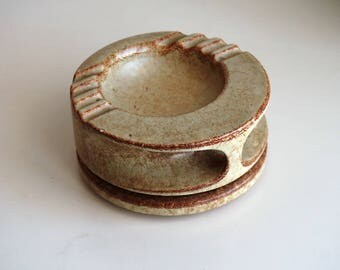 Bertoncello Modern Vase Ashtray, screziato vintage ceramic big ashtray, Italian pottery 1970s