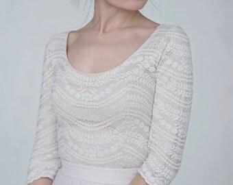 Maegan - rustic bridal top / bohemian lace bridal top / sleeves wedding top / lace wedding top / scoop neckline bridal separates top