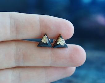 small earring posts , geometric gold studs , tiny geometric studs , ear studs for women , minimal modern studs