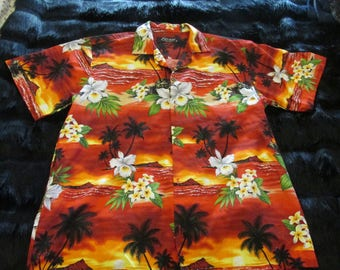 Vintage Favant Hawaiian Shirt Tropical Print Size XL Hawaii