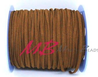 3mm Spool of Brown Ultra Micro Fiber Suede, 5 Yard Spool Faux Sued, 15 Feet Flat Cord For Jewelry Making
