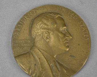 """Franklin D Roosevelt In Memoriam Bronze Relief Medal 3"""""""