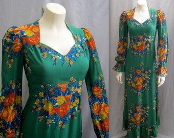 "Vintage 70s BOHEMIAN Maxi Dress Gown  Sweetheart Neckline Retro 40s style Hippie Boho Festival  Bust 35"""