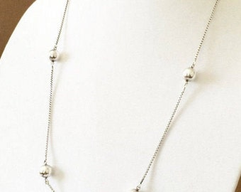 """25"""" Sterling Silver Large Ball And Chain Saturn Necklace"""
