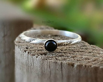 Black Onyx Ring Onyx Ring Black Stone Ring Dainty Onyx Ring Small Stack Ring Black Onyx Stack Ring Silver Onyx Ring Black Gemstone Ring