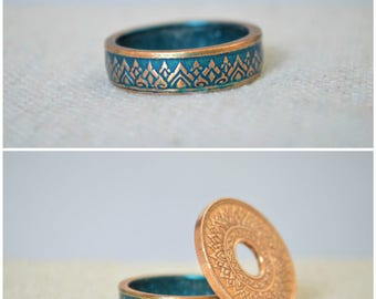 Thailand Coin Ring, Turquoise Ring, Crown Ring, Unique Ring, Turquoise BoHo Ring, Coin Jewelry, Bohemian Ring, Turquoise Coin Ring, Thai Art