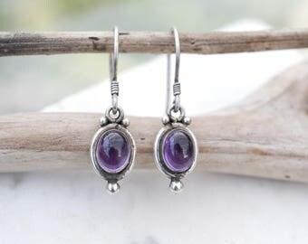 Sterling Silver Amethyst Dangle Earrings, Sterling Amethyst Earrings, Cabochon Amethyst Earrings, Purple Gemstone Dangle Earrings