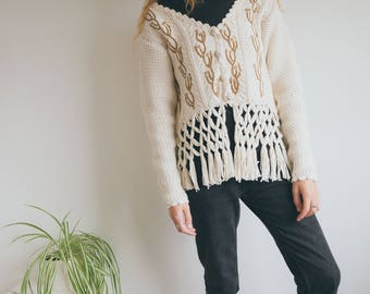 Vintage 70s Thick Cardigan, Boho Cardigan, Wool Knitwear, Embroidered Knitwear, Knitted Sweater, Long Sleeved Cardigan