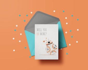 Instant Download | Star Wars Valentine's Day Card | BB-8 | Printable | Valentine's Gift