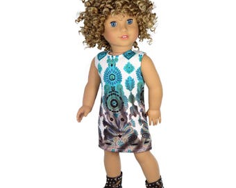 Fits like American Girl Doll Clothes.  Turquoise and Brown Boho Sleeveless Dress.