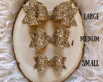 Pale Gold Glitter Sparkle Hair Bow, Gold Glitter Bow, Gold Bow Headband, Large Gold Bow, Gold Hair Bow