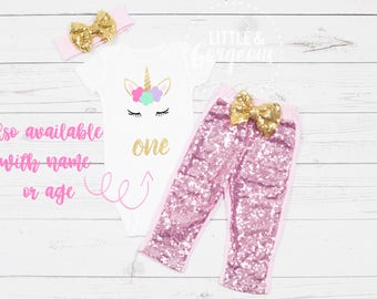 Girls First Birthday Unicorn Onesie, 1st Birthday Onesie Unicorn, First Birthday Girl Outfit, Unicorn Birthday Outfit, Girls Sparkle Pants