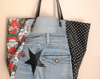 recycled denim tote bag / calavera skull star/dots/red camel handles