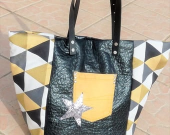 tote bag patchwork effect black croco/fabric geometric mustard yellow leather Designer, Star sequins, black leather handles