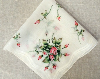 Red Roses Wedding Handkerchief: Bridal Keepsake Gift, Pocket Square. 1950's Printed Linen Hanky. Farmhouse Cottage Chic,  Retro Hankie  HK31