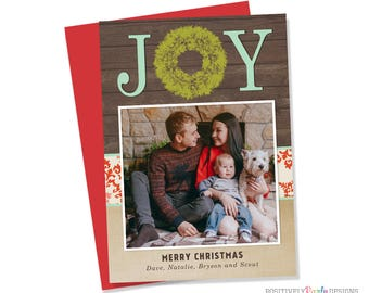 Joy Rustic Wood Mint Christmas Card - Christmas Picture Card - holiday photo card, rustic holiday cards, wreath holiday cards, 1 photo card