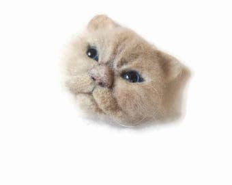 Persian cat brooch Memorial jewelry Needle felted wool animal Cat portrait gift for crazy cat lady, Gift for daughter