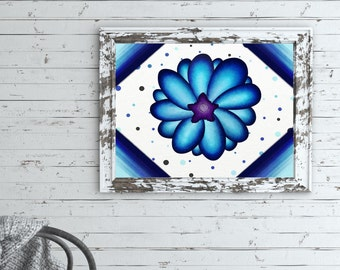 Floral Wall Art Prints, Flower Art Wall Decor, Flower Art Print Printable, Paintings Of Blue Flowers, Large Floral Paintings, Flower Digital