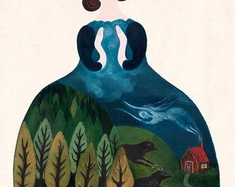 "Witchy Print, Art Print, Giclee Print, Wall Art, Decorational Art, Folk Art Illustration, Wolves Print, Witch Art ""Spirit of the Woods"""