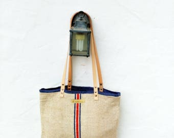 Grain Sack Shoulder Bag / Blue stripes / Antique european linen / Beach tote bag / Market handbag / Hemp handwoven fabric