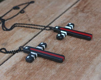 Thin Red Line, Wood Cross Necklace, Firefighter cross, Firefighter flag, Large Cross Pendant, Flag Cross, Thin Red Line Flag, Mens Cross