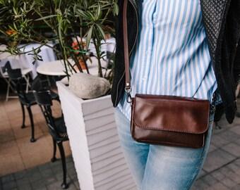 Brown Leather Crossbody Bag,  Crossbody Bag, Handmade Leather Bag, Leather Messenger Bag, Women bag, small bag, FREE SHIPPING, bag for woman