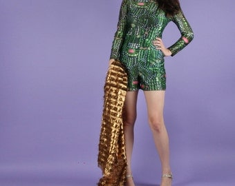 The Glamphibian Onesie Psychedelic Frog Shorts Jumpsuit One Piece XS
