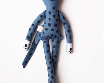 Blue Leopard Soft Toy: handmade with organic cotton